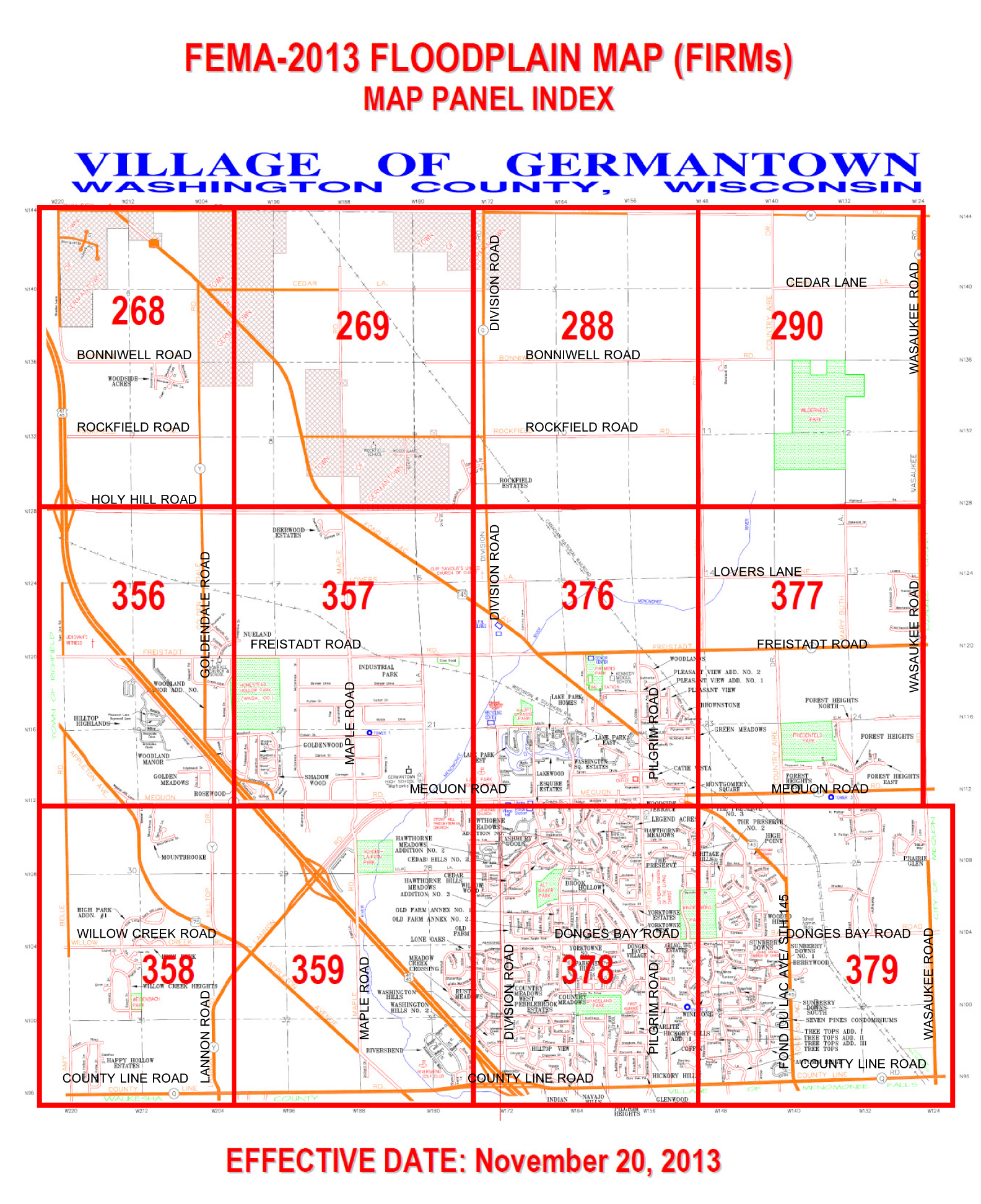 Floodplain map panel index germantown wi official website click the 3 digit panel number to view a detailed map of the 100 year floodplain for your area of interest pooptronica